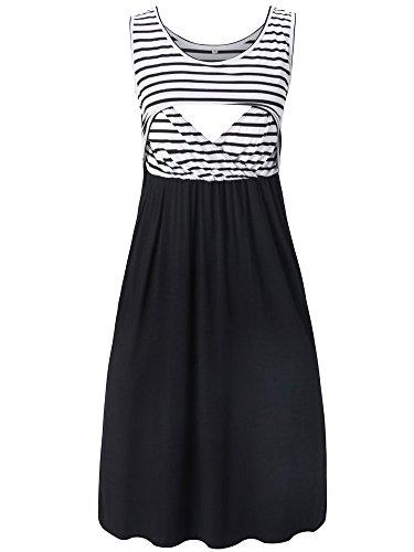 Liu & Qu Women's Sleeveless Nursing Stripe Dress Maternity Dress Breastfeeding Clothes Black