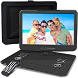 WONNIE - Reproductor de DVD portátil de 15.5 pulgadas, con pantalla orientable a 270 grados, batería recargable, sonido estéreo, todas las regiones, admite USB/SD/AV in/Out