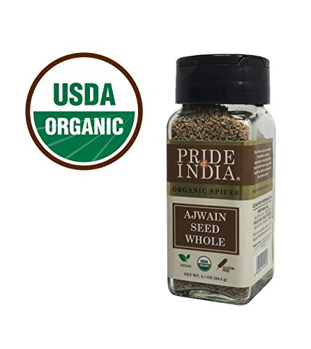 Pride Of India - Organic Ajwain Seed Whole, 2.1 oz (60 gm) Dual Sifter Jar, Authentic Indian Carom Seeds, Used to Season Food, Pickles - BUY 1 GET 1 FREE (MIX AND MATCH - PROMO APPLIES AT CHECKOUT)