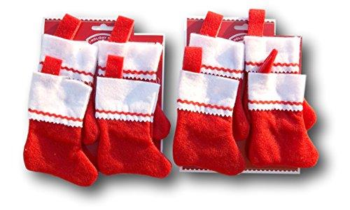 Vacances Temps miniature Chaussette de Noël feutre rouge Bundle – Lot de 8