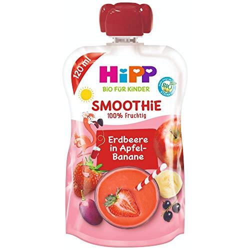 HiPP Smoothie Mix im Quetschbeutel, Rote Früchte in Apfel-Banane, 100% Bio-Früchte ohne Zuckerzusatz, 6 x 120 ml Beutel