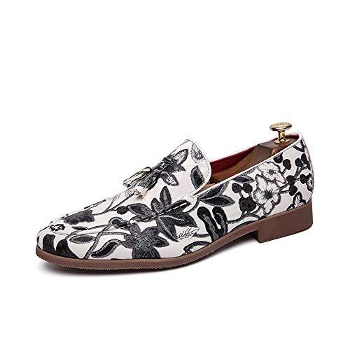 CAIFENG Oxford Zapatos for Hombres Zapatos Formales Slip on Style PU Cuero Classic Borla de la tasel Impresionante Top Top (Color : White, Size : 43 EU)