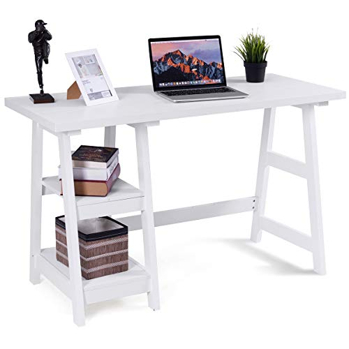 Tangkula Writing Computer Desk, Trestle Desk Study Desk, Laptop PC Desk, Modern...