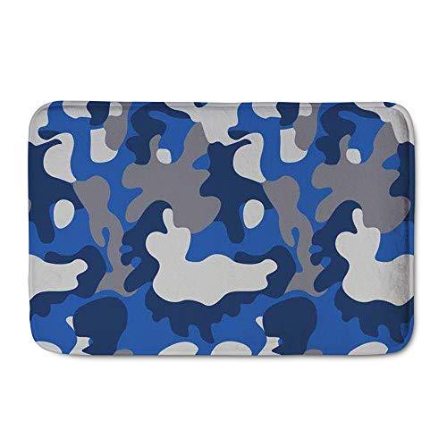 Amzbeauty Felpudo de bienvenida, diseño de camuflaje, color azul marino, para interiores y exteriores, para entrada, dormitorio, baño, cocina, 23.6 x 15.7 pulgadas