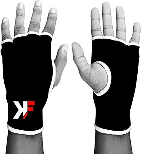 Guantes KIKFIT Negro elástico Interiores, Protector, Soporte de la Mano, Artes Marciales, MMA Grande/Extra Grande