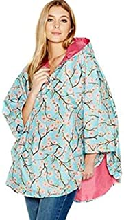 Tote's Women's Floral Water Repellent Poncho Pink