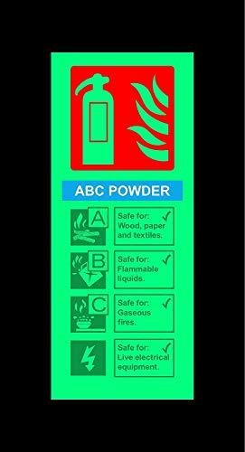 ABC poeder brandblusser veiligheidsteken - 200mm x 80mm 1.2mm Photoluminescent stijf plastic met zelfklevende achterkant
