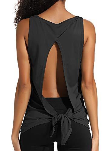 INSTINNCT Damen Tank Tops Casual Ärmellos Rückenfrei Shirts für Yoga Workout #2 Schwarz S