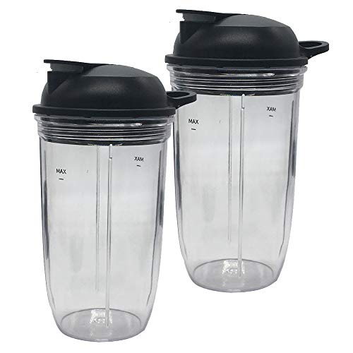 Replacement juicer personal jar 24oz cup with to go lid(Pack of 2pcs) Compatible with NutriBullet Blender Combo(ZNBF30400Z/ZNBF30500Z/)/Select Blender 1200(NB07200-1210) /PRO 1000/ Select Blender