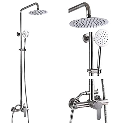 Outdoor Shower Fixture SUS304 Shower Faucet Combo Set Stainless Steel 8 Rainfall Shower Head High Pressure Hand Spray Wall Mount 2 Dual Function Brush Nickel Single Handle