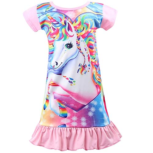 Ekouaer Girls Nightgown Cotton Sleep Shirt Short Sleeve Sleepwear Nightie 4-13 Years