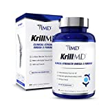 1MD KrillMD - Antarctic Krill Oil Omega 3 Supplement with Astaxanthin, EPA, DHA | 2X More Effective Than Fish Oil | 60 Lemon-Coated Softgels