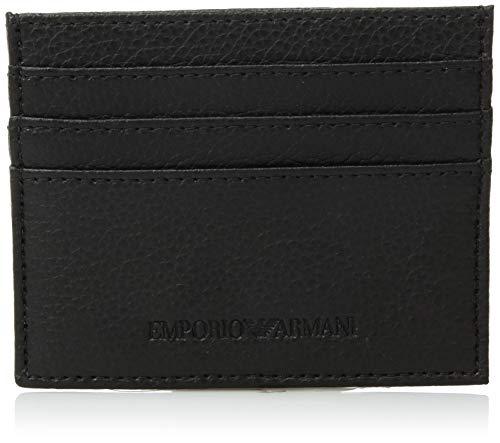 Emporio Armani Black Leather Card Holder, Custodia per Carte di Credito Uomo, Nero, taglia unica
