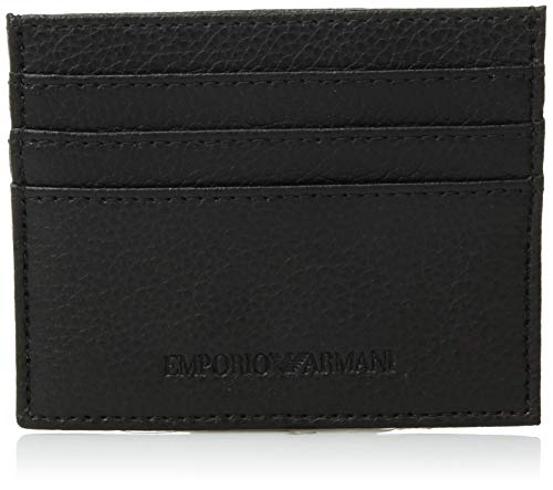 Emporio Armani Black Leather Card Holder, Portatarjetas para Hombre, Negro, Talla única