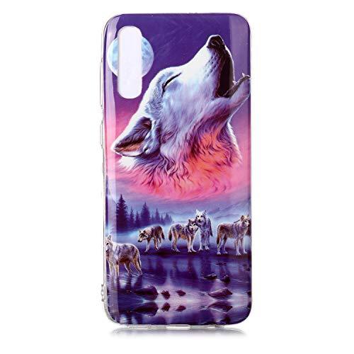Fatcatparadise Cover per Galaxy A50 / A30S [con Pellicola in Vetro Temperato], [Chiaro di Luna] TPU Silicone Bumper Cover [Ultra Sottile] Protettiva Case per Samsung Galaxy A50 / A30S(Sette Lupi)
