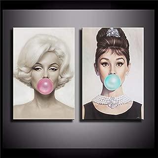 Audrey Hepburn, Bubble Gum,Michael Moebius - Marilyn Monroe 2PCS Wall Art Home Wall Decorations for Bedroom Living Room Oil Paintings Canvas Prints-863 (Unframed)
