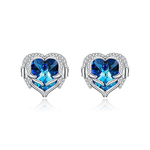 EVER FAITH Pendientes con forma de alas de ángel y corazón para mujer y niña, con cristal de Swarovski, Cristal Circonia cúbica, Crystal,