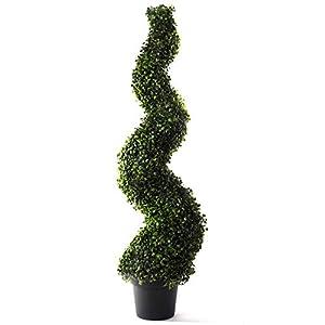 Silk Flower Arrangements Bornbridge Artificial Spiral Topiary Tree - 4' Spiral Boxwood - Indoor / Outdoor Topiary - Faux Boxwood Artificial Outdoor Plants - Lifelike Buxus Boxwood Plant (Single)