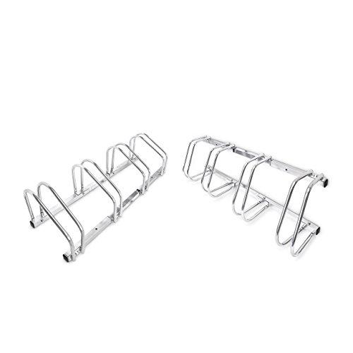 2 x 4er Fahrradständer im Set, Mehrfachständer für je 4 Fahrräder, zur Boden- und Wandmontage, HBT 26 x 100 x 32 cm, silber