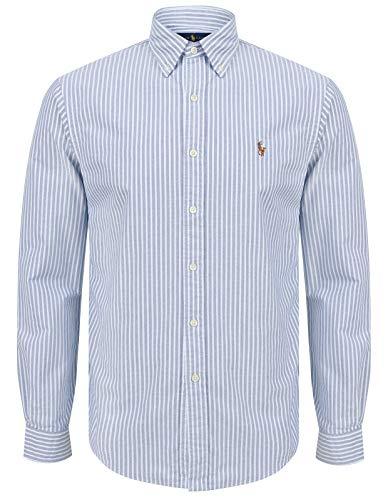 Ralph Lauren Camisa Oxford Slim Fit para hombre (mediano, rayas vaqueras)