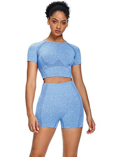 Sytiz Women Seamless Yoga Outfits 2 Piece Set Workout Gym Shorts + Short Sleeve Crop Top (Light Blue, m)