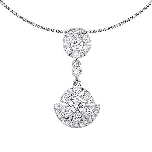 Jewelco London Ladies Rhodium Plated Sterling Silver Cubic Zirconia Egyptian Collar Cluster Pendant Necklace 18 inch