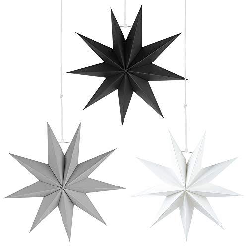 Faltstern Weihnachten, 9 Zacken Stern zum Aufhängen, Papier Stern Dekoration 3er Set Faltsterne Weihnachtsstern Deko, Sterne Papier zum Weihnachtsbaum, Fenster Dekoration