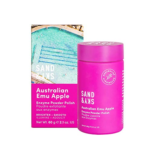Sand & Sky - Exfoliante en polvo con enzimas de manzana emú australiana - Limpiador facial con antioxidantes como enzimas de papaya, aceite de jojoba y vitamina C
