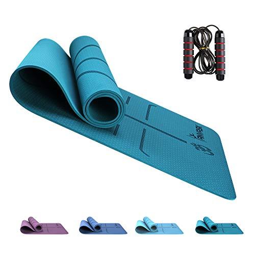 ANVASK Fitnessmatte, Yogamatte Sportmatte rutschfest für Yoga I Training I Pilates, TPE Schadstofffrei Gymnastikmatte Trainingsmatte + Springseil, Naturkautschuk Yoga Joga Matte - 183 x 61 x 0,6cm