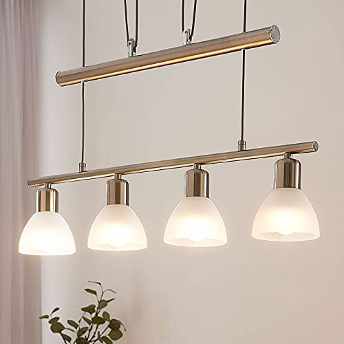 Lindby LED Hängelampe 4 flammig, höhenverstellbar | inkl. 4 x 4W LED Leuchtmittel austauschbar | warmweiß (3.000K) | Esstisch Pendelleuchte Glas Metall | Hängeleuchte Esszimmer