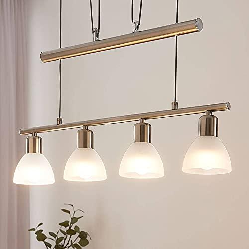 Lindby LED Hängelampe 4 flammig, höhenverstellbar | inkl. 4 x 4W LED Leuchtmittel A+ austauschbar | warmweiß (3.000K) | Esstisch Pendelleuchte Glas Metall | Hängeleuchte Esszimmer