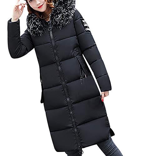 ZANFUN Women Winter Coats Jackets Fashion Slim Hooded Faux Fur Collar Solid Casual Down Jacket Warm Thicker Long Peacoat Black