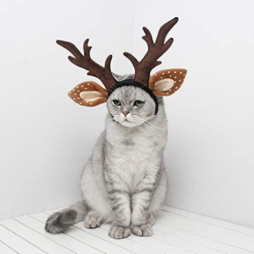 Balacoo Hund geweih kostüm-Hund elch geweih Rentier Hut Kappe Katze weihnachtskostüm Outfits Katze Kopfbedeckung klein groß Hund Hut Kopfbedeckung haarpflege zubehör-klein