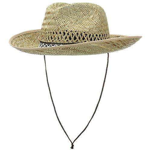 Hutshopping Santiago Western Hut Damen/Herren - Cowboyhut aus 100% Stroh - Strohhut Sonnenhut in M 57 cm - Westernhut mit Kinnband