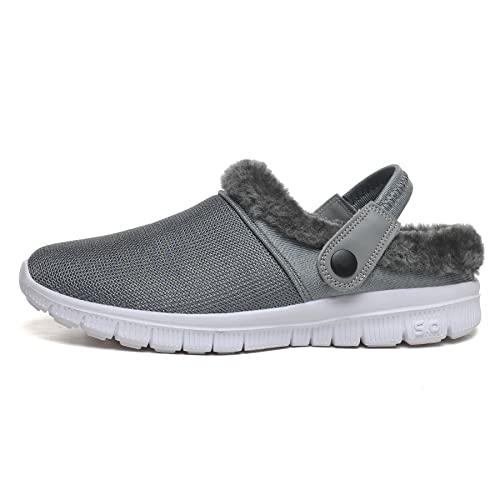 Eogrokerr Eogrokerr - Zapatillas de algodón para interiores y exteriores para el hogar, zapatillas de algodón para amantes, Gray, 43 EU