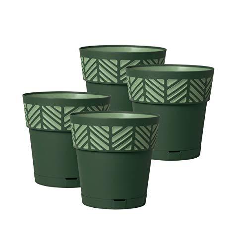 Kreher 4 Stück Pflanztöpfe ORFEO Hochwertiges 3D-Design in leicht Matter Ausführung mit integrierten Wasserspeicher (S, Grün)