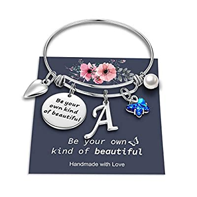 Yoosteel Butterfly Charm Bracelets for Women Girls, Stainless Steel Bangle Bracelet Expandable A Letter Initial Blue Crystal Butterfly Charm Bracelets for Women Girls