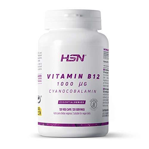 Vitamina B12 de HSN   Cianocobalamina 1000 mcg   Esencial para Veganos y Vegetarianos + Mejora el Metabolismo Energético   Sin Gluten, Sin Lactosa, 120 Cápsulas Vegetales