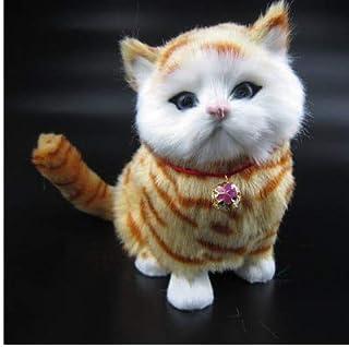 سايز او - حيوانات محشوة وقطيفة - قطعة واحدة جديدة arridavl مقاس 18x15x8 سم لعبة محاكاة قطة جميلة، دمية قطة محببة، تصدر صوت...