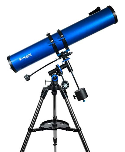 Meade Instruments – Polaris 114mm Aperture, Portable Backyard Reflecting Stargazing Astronomy Telescope for Beginners –Stable German Equatorial (GEM) Manual Mount – View the Moon, Planets & Stars, One Size, Blue