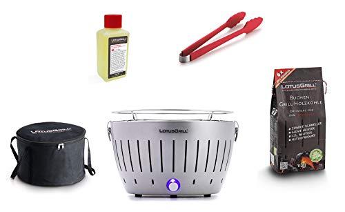 LotusGrill Starter-Set 1x Grill Silber Metallic mit USB-Anschluß, 1x Buchenholzkohle 1kg, 1x Brennpaste 200ml, 1x Würstchenzange (Farbe nach Vorrat), 1x Transport-Tragetasche