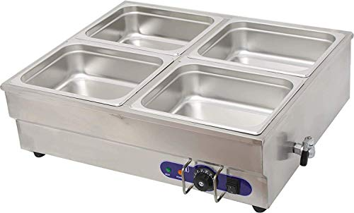 INTBUYING 4 Pan Counter Top Warmer Bain-Marie Buffet STEAM TABLE FOOD WARMER 110V
