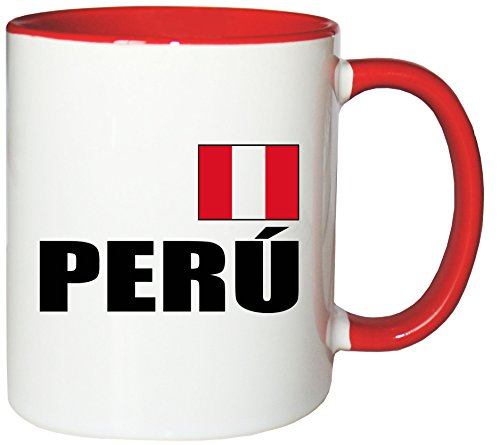 Mister Merchandise Kaffeetasse Perú Fahne Flag Teetasse Becher, Farbe: Weiß-Rot