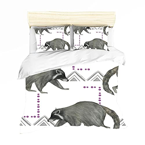 Meimall Fundas Nórdicas Cama Microfibra - Blanco Y Negro Animal Mapache Bebé 180X220 Cm Impresión Digital 3D Fundas Edredón Nórdico con 2 Fundas De Almohada 50X80Cm - 2 Piezas, Muy Suave Transpirable
