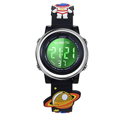 Boy Toys Age 3-12, Kids Digital Sports Waterproof Watch for Girls Boys, 3D Cartoon Watches for Kid Gifts with Alarm Stopwatch Toddler Little Child Black Astronaut Outer Space Rocket Universe