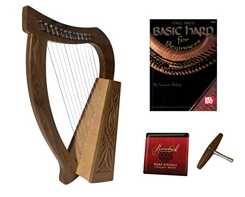 Roosebeck Baby Celtic Harp 12-Strings (Knotwork) + Play Book + Extra Strings