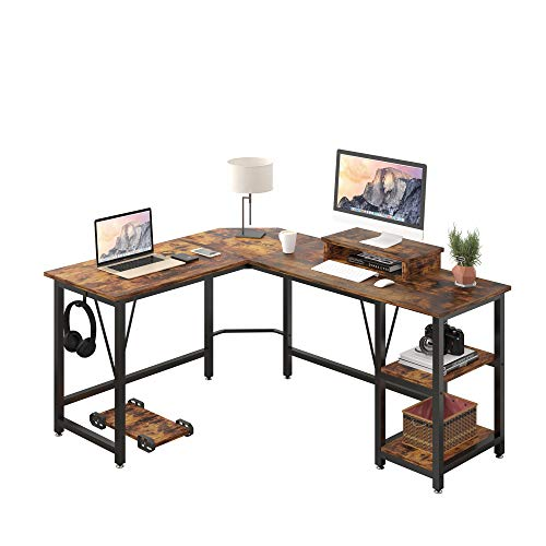 TREETALK Computer desk, L-shaped Corner Desk with 2-Layer Storage,Large PC Laptop Table with Monitor Stand and CPU Stand,Gaming Writing Desk for Home Office (Rustic Brown)