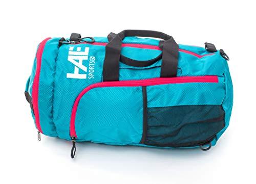 HALE | práctica bolsa de deporte mochila azul y rojo con fijación para raquetas de fútbol para hockey, squash, bádminton, hockey sobre hielo