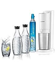Sodastream Bubbelvatten karbonator Crystal Mega Pack, 2 glasflaskor och 1 CO2-flaska, vit