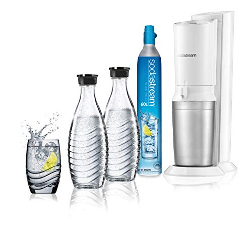 Sodastream Sprudelwasser Carbonator Crystal Mega Pack, 2 Glasflaschen und 1 CO2-Flasche enthalten, weiß